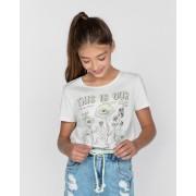 Camiseta Menina Dimy Candy Flores Offwhite 82161