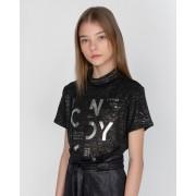 Camiseta Menina Dimy Candy Preto e Prata 82221