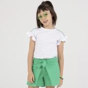 Conjunto Beabá Short Saia Verde com Laço e Blusa Branca 818005