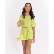 Conjunto Menina Bobbylulu Moon Verde Limão B21265