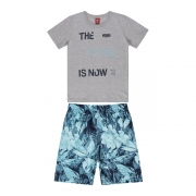 Conjunto Menino Bee Loop Future Is Now Cinza 13874