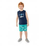 Conjunto Menino Bee Loop Shark Azul 13866