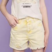 Short Dimy Candy Amarelo com Botão Pressão 82561