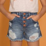Short Dimy Candy Jeans Com Botões Laranjas 82793