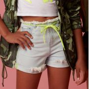 Short Menina Dimy Candy Jeans Alto Neon 81476