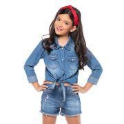 Short Menina Mania Kids Jeans Médio com Rasgo 60892Mk