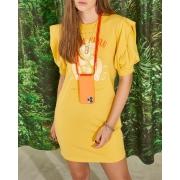 Vestido Colcci Fun Estampado Amarelo Manga Bufante 445300792