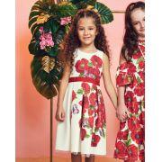 Vestido Menina Animê em Crepe Off e Vermelho Floral N0013
