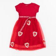 Vestido Animê Vermelho Tule com Coração P3371