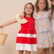Vestido Menina Beabá Listrado Vermelho e Branco 778002