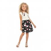 Vestido Menina Bee Loop Corações Branco e Preto 13853