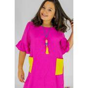 Vestido Menina L2M Kids Pink com Bolso Amarelo 4097