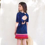 Vestido Precoce Azul Marinho com Manga Bufante e Barrado 2124