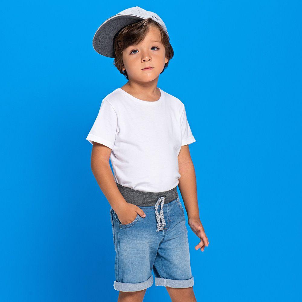 Bermuda Menino Mania Kids Moletom Jeans Claro 80608