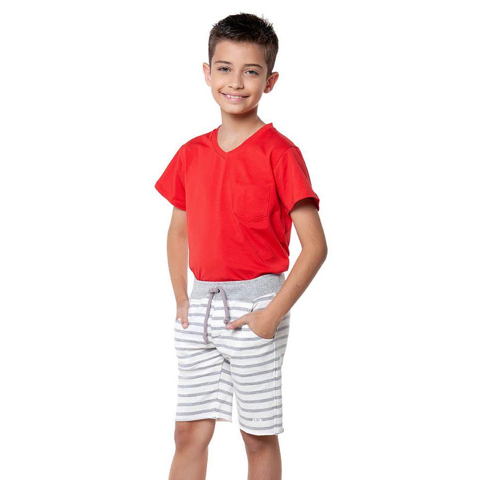 Bermuda Menino Mania Kids Moletom Listra Cinza e Branco 90539G