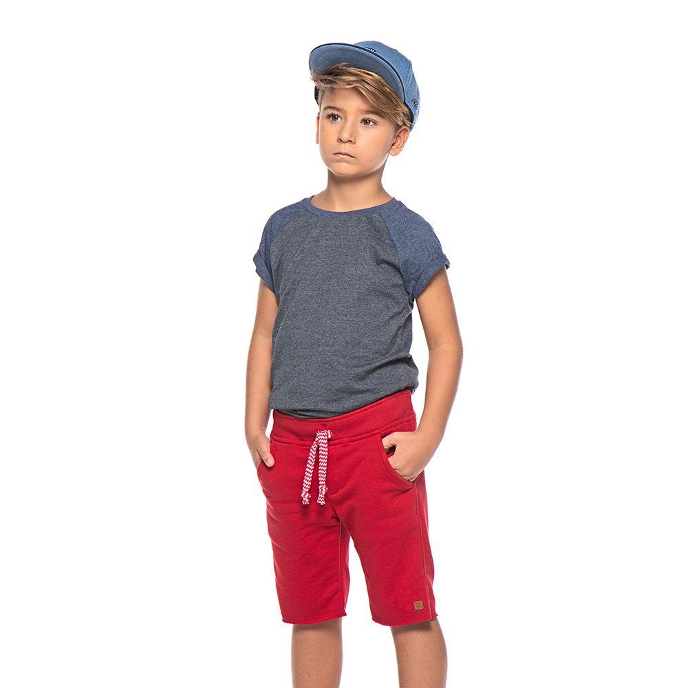 Bermuda Menino Mania Kids Moletom Vermelho 90612