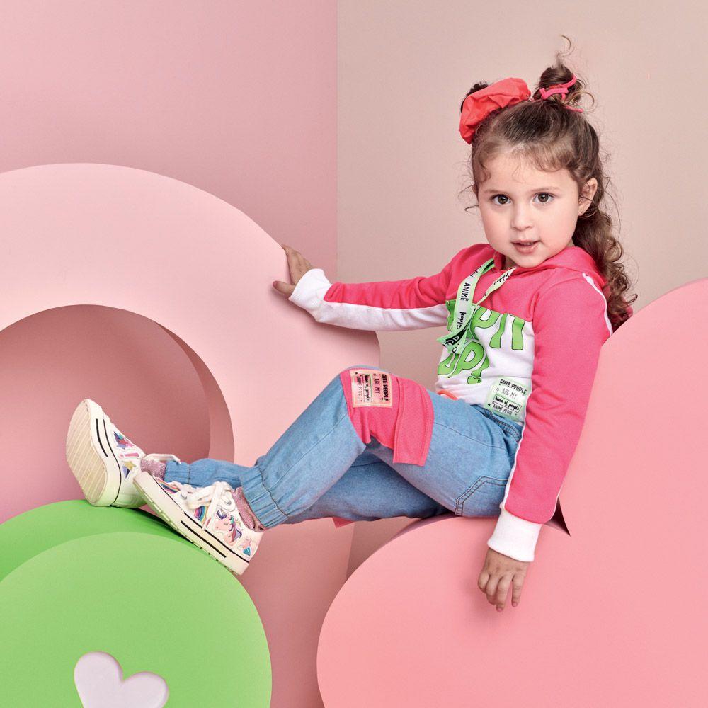 Calça Menina Animê Jeans com Bolso De Tela P3551