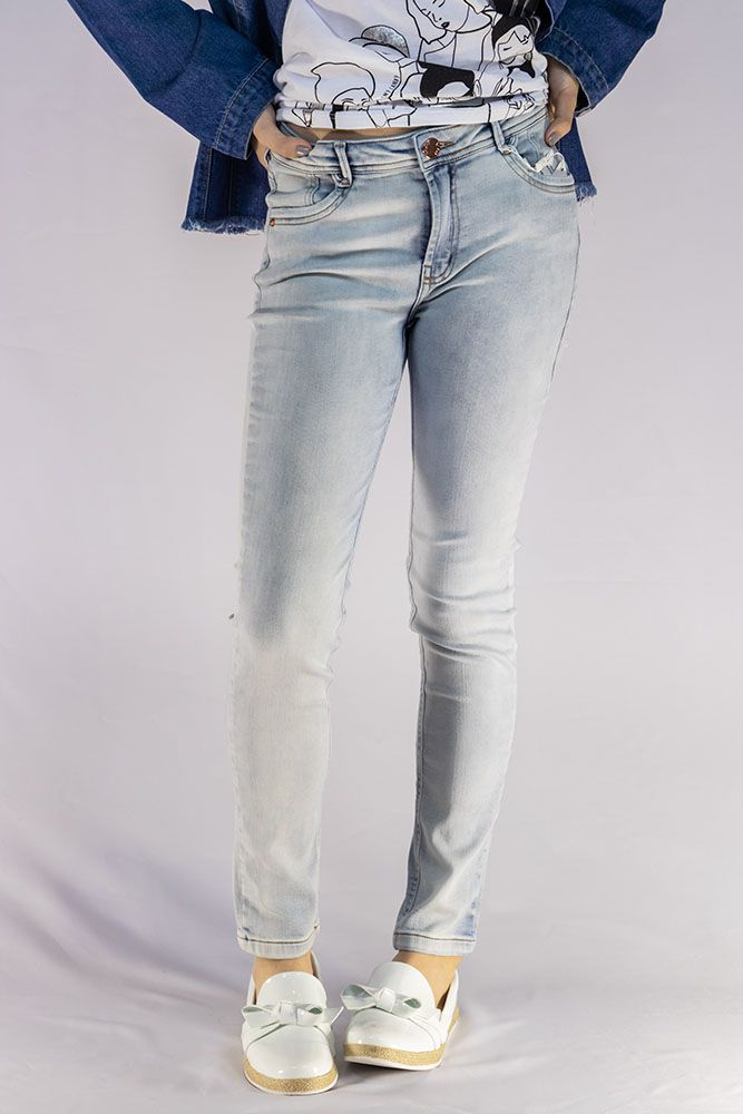 Calça Menina Dimy Candy Jeans Claro Moletinho 81574