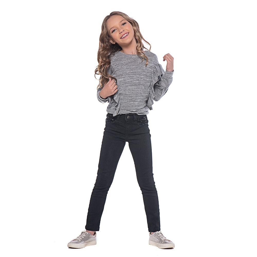 Calça Menina Mania Kids Preta com Paetês Bolso 60769G