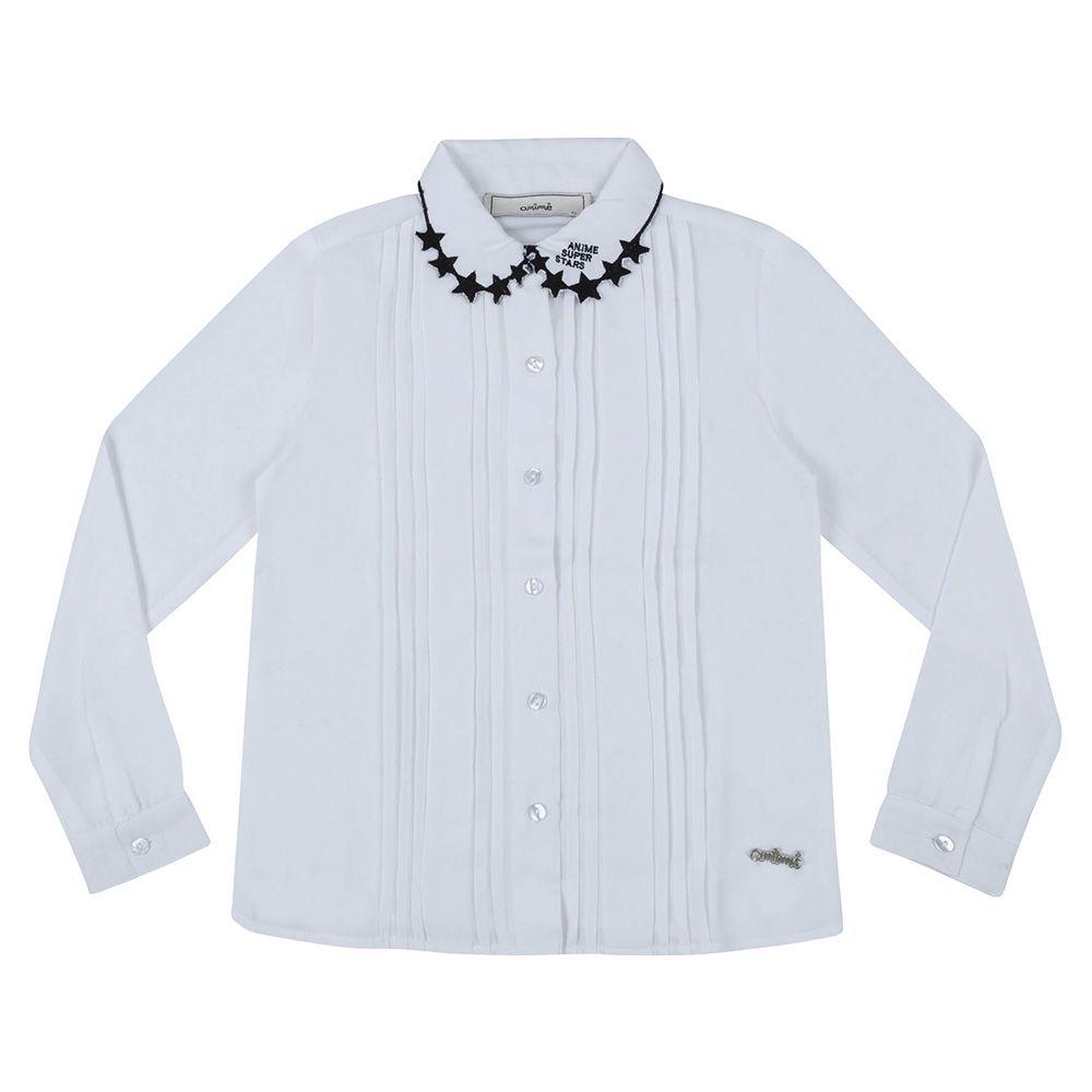 Camisa Menina Animê Branca com Gola Bordada N0112