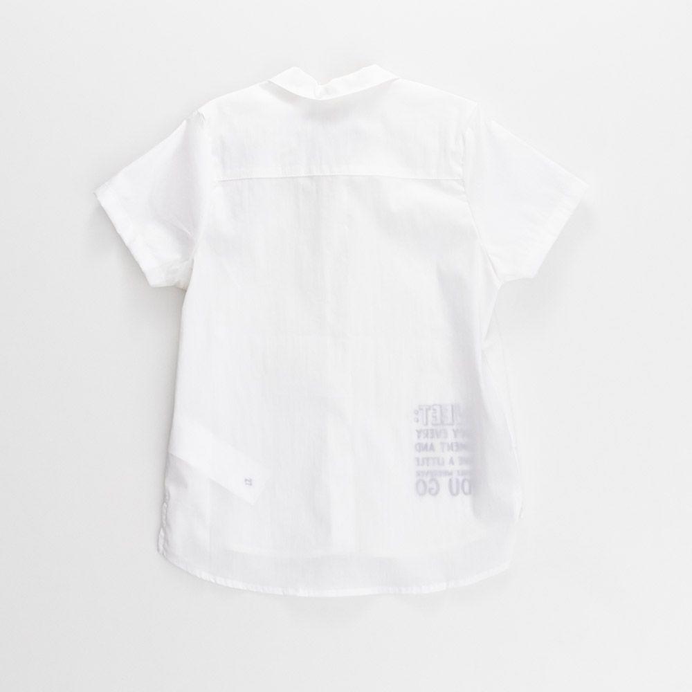 Camisa Menina Animê Tricoline Branca e Gola P33698