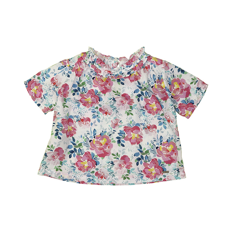 Camisa Menina Beabá Floral Rosa 808062N