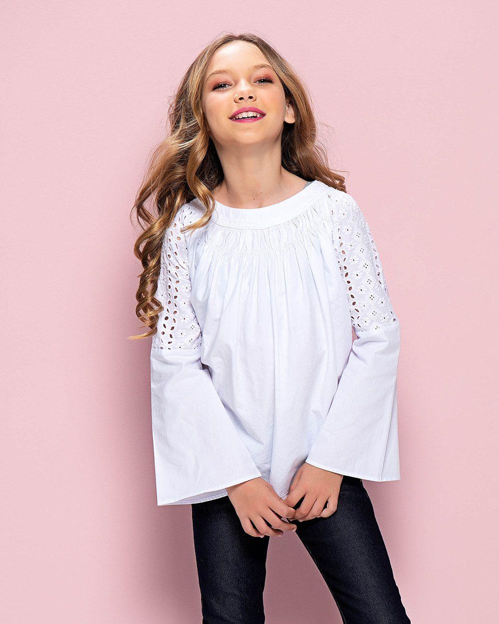 Camisa Menina Mania Kids Branca com Laise Manga 60903