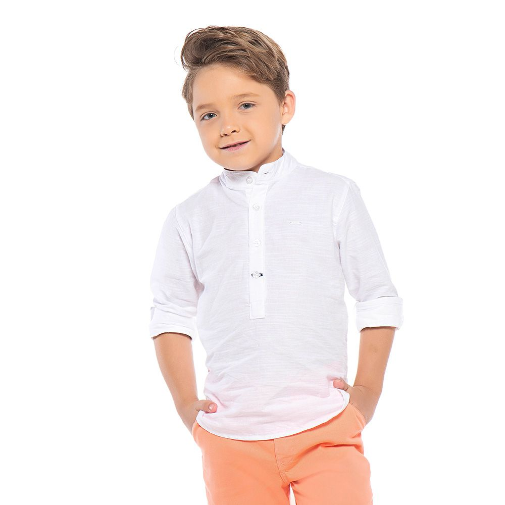 Camisa Menino Mania Kids Bata Branca 90656