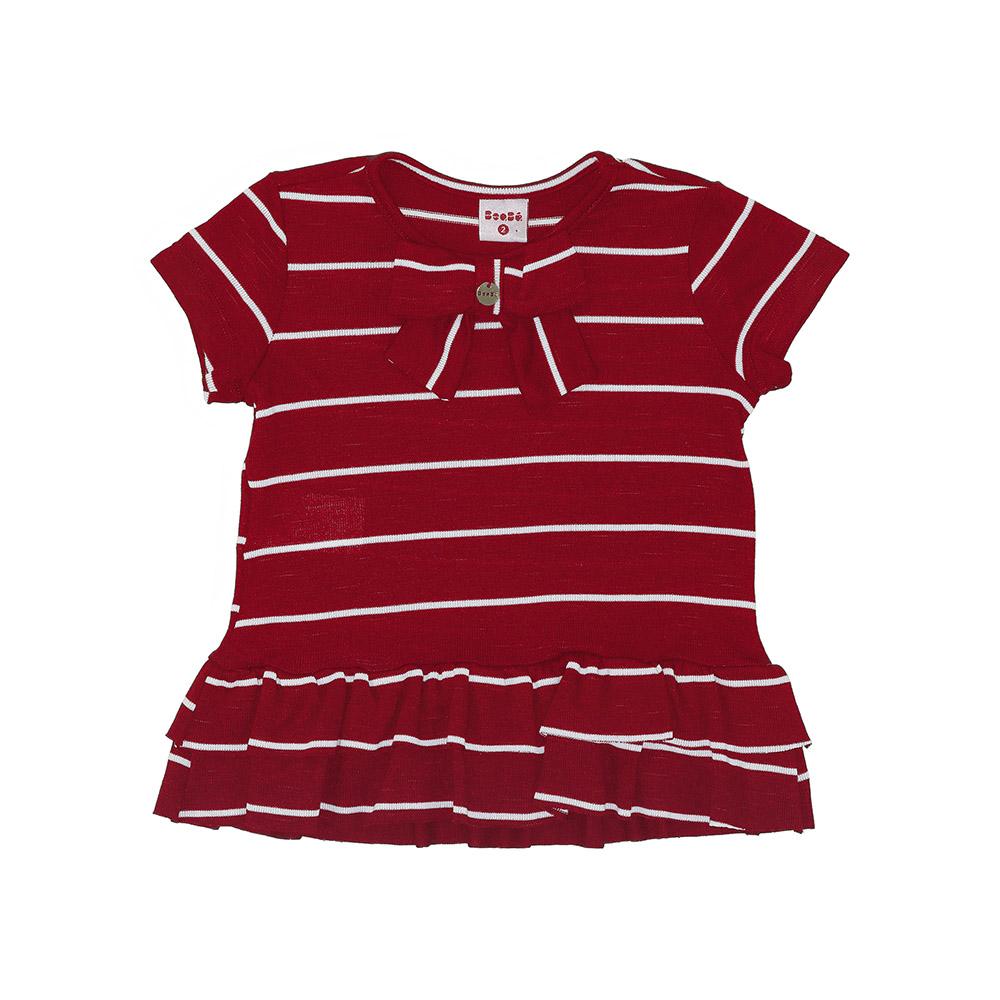 Camiseta Beabá Vermelha Com Listras E Laço 808006N