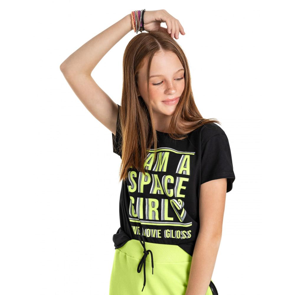 Camiseta Gloss Preta Space Girl 31263