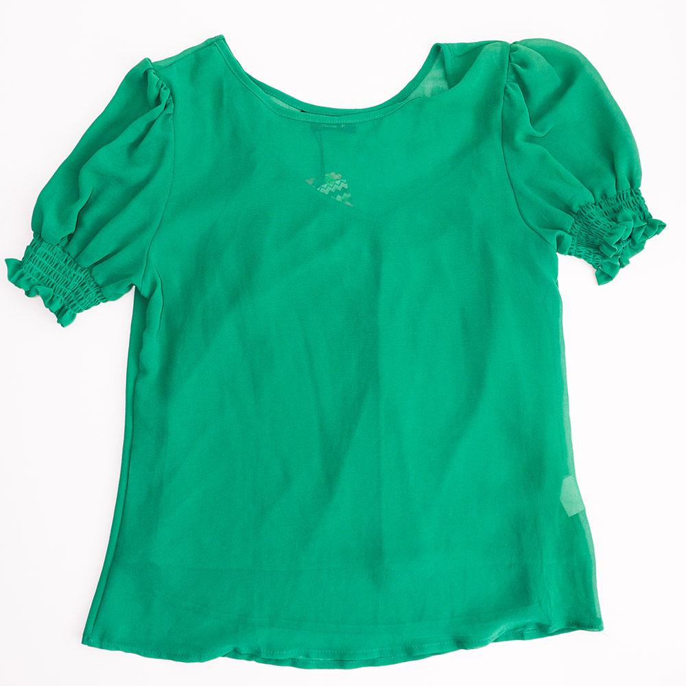 Camiseta Menina 3 Marias em Crepe Verde