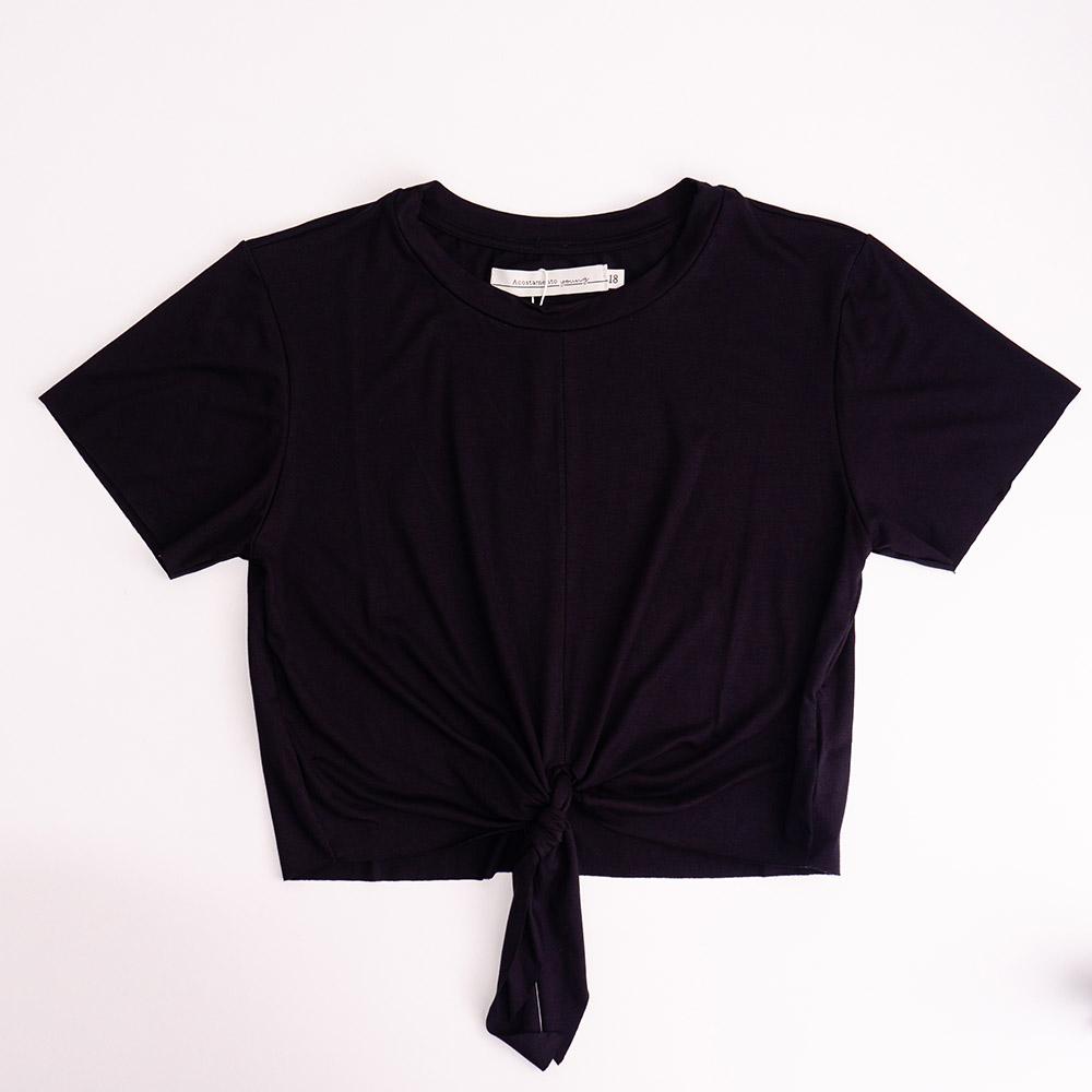 Camiseta Menina Acostamento Preto com Nó 89805046