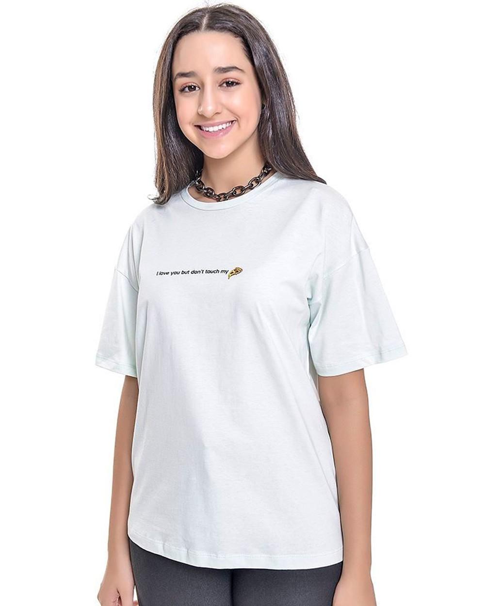 Camiseta Menina Amofany Dont Touch My Pizza Verde T700590