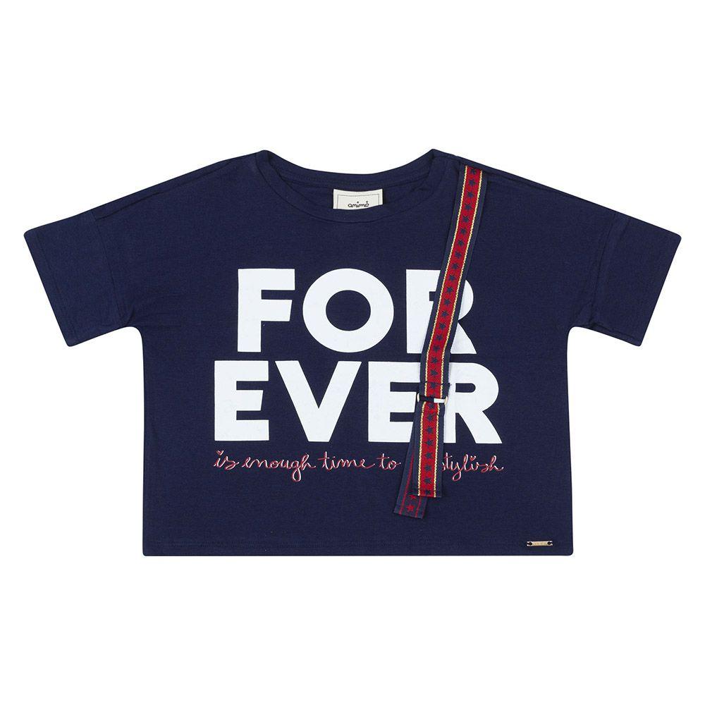Camiseta Menina Animê Azul Forever N0436