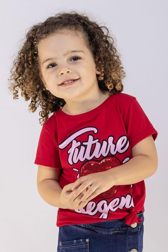 Camiseta Menina Animê Coração Vermelho Lantejoula M9587