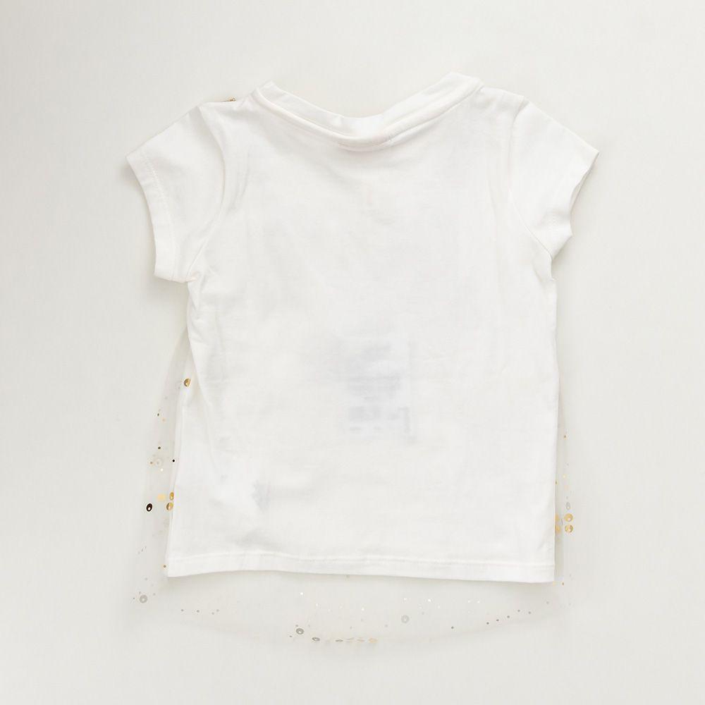 Camiseta Menina Animê Tricoline Branca P3194
