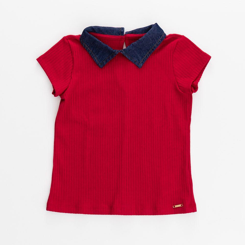 Camiseta Menina Animê Vermelha com Gola Jeans P3592