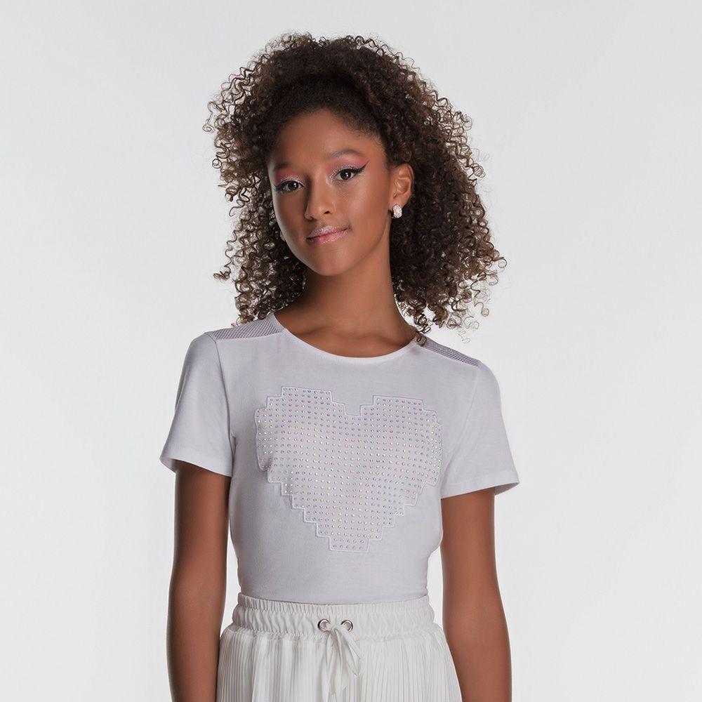 Camiseta Menina Bobbylulu Branca com Coração 20S163