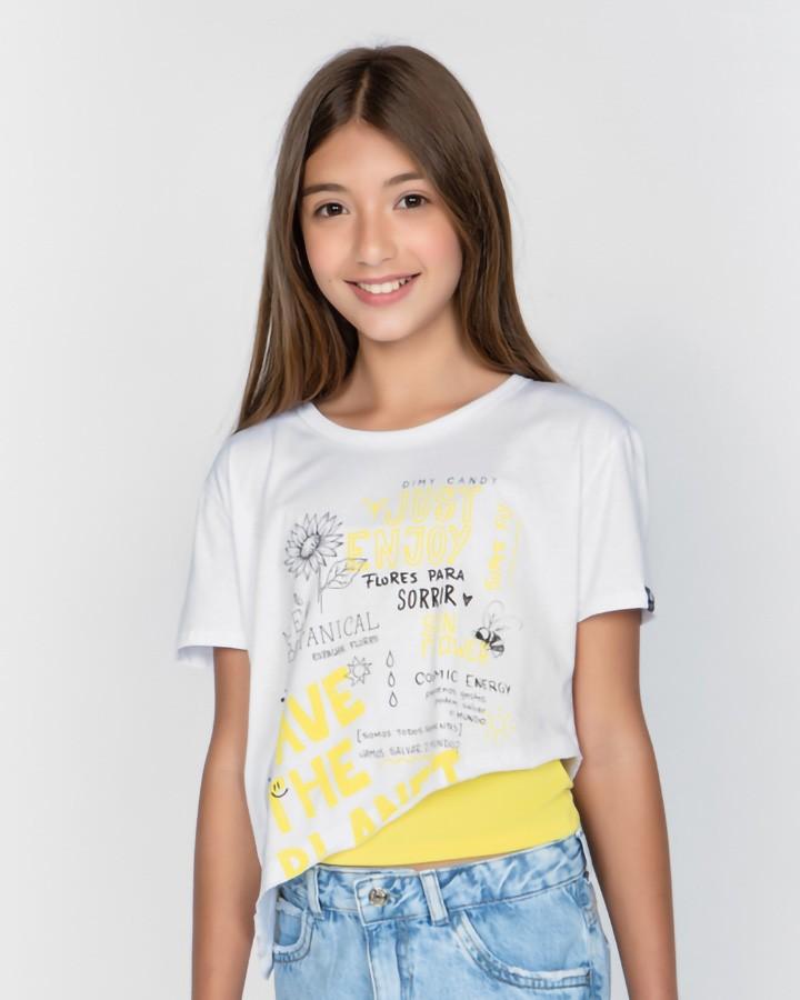 Camiseta Menina Dimy Candy Assimétrico com Top 82034