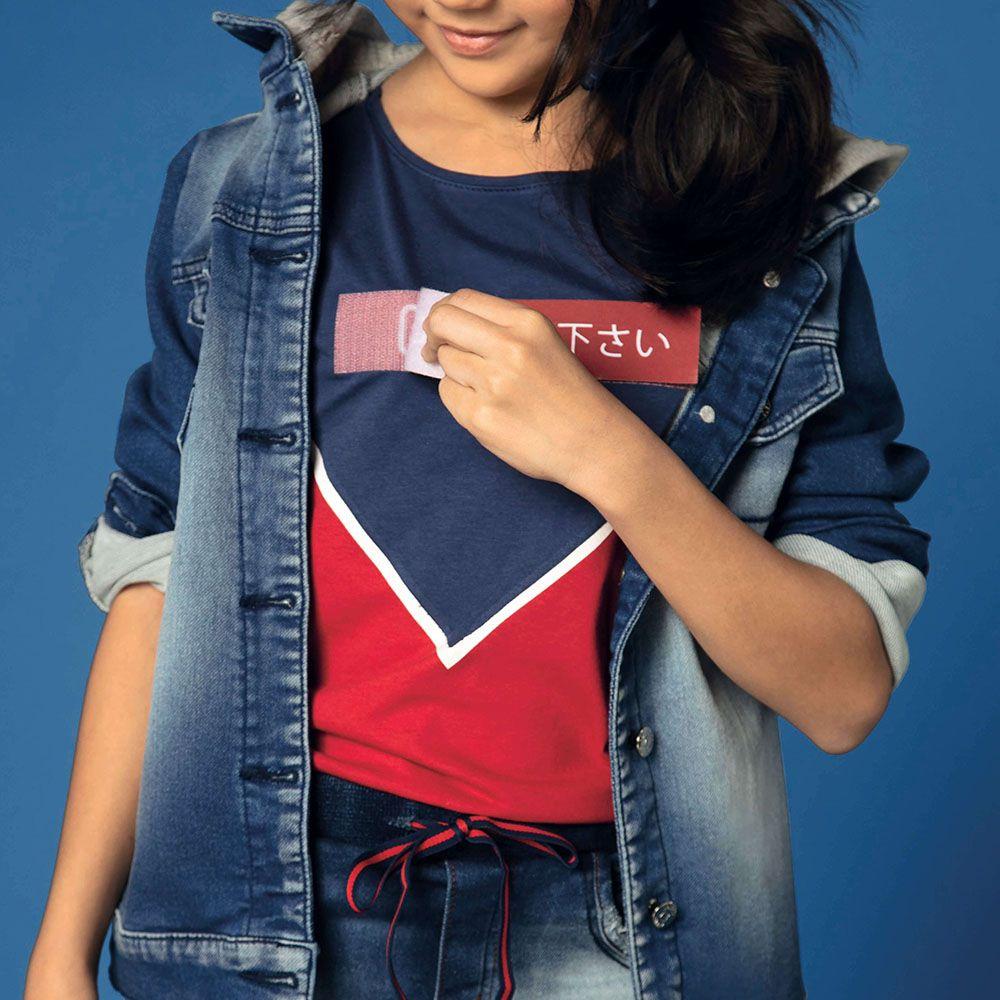 Camiseta Menina Dimy Candy Azul Marinho e Vermelho com Velcro 81378
