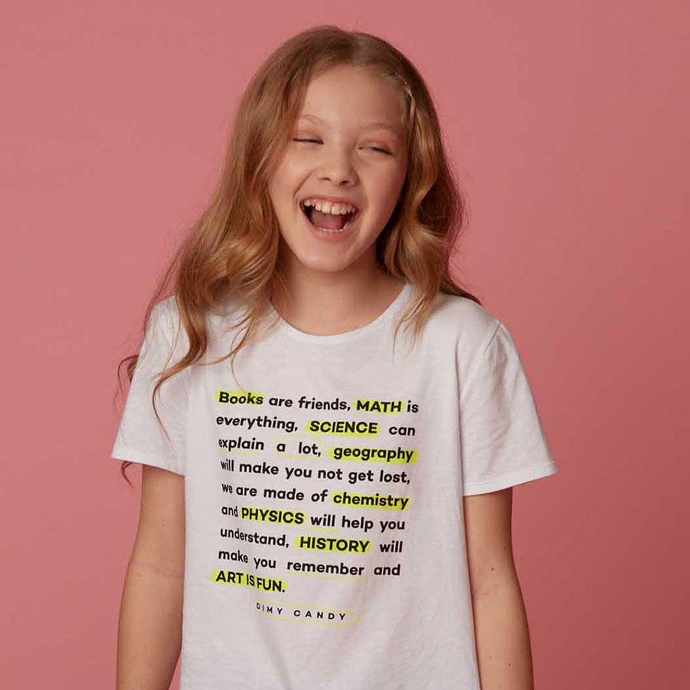 Camiseta Menina Dimy Candy Branca com Detalhes em Neon 81697