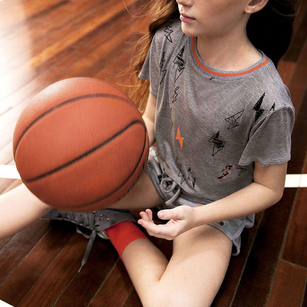Camiseta Menina Dimy Candy Cinza e Laranja Raio 81436
