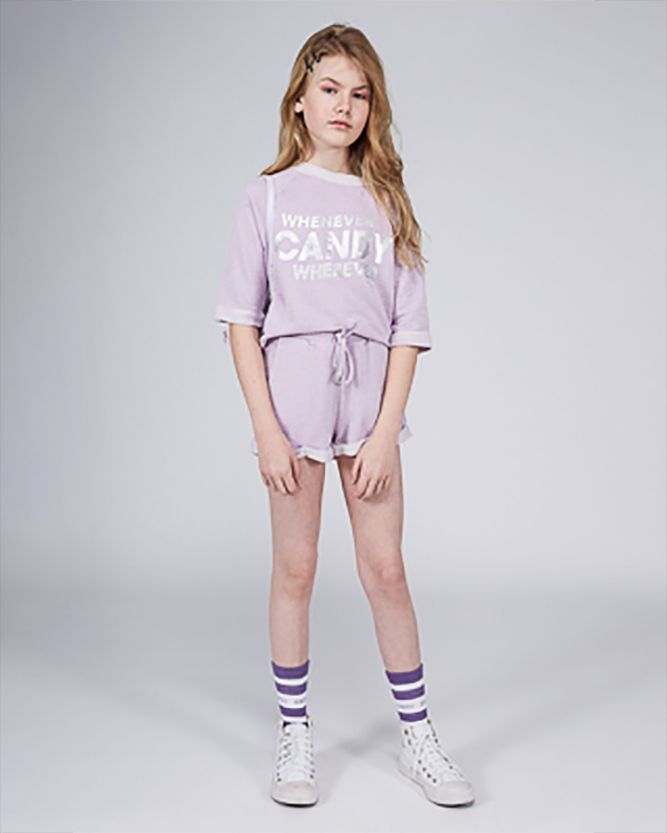 Camiseta Menina Dimy Candy Lilás Tricot Fake 81863