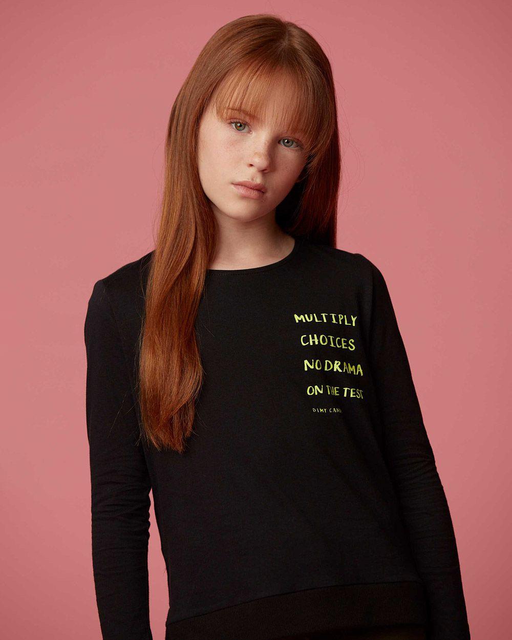 Camiseta Menina Dimy Candy Manga Longa Preta e Neon 81578