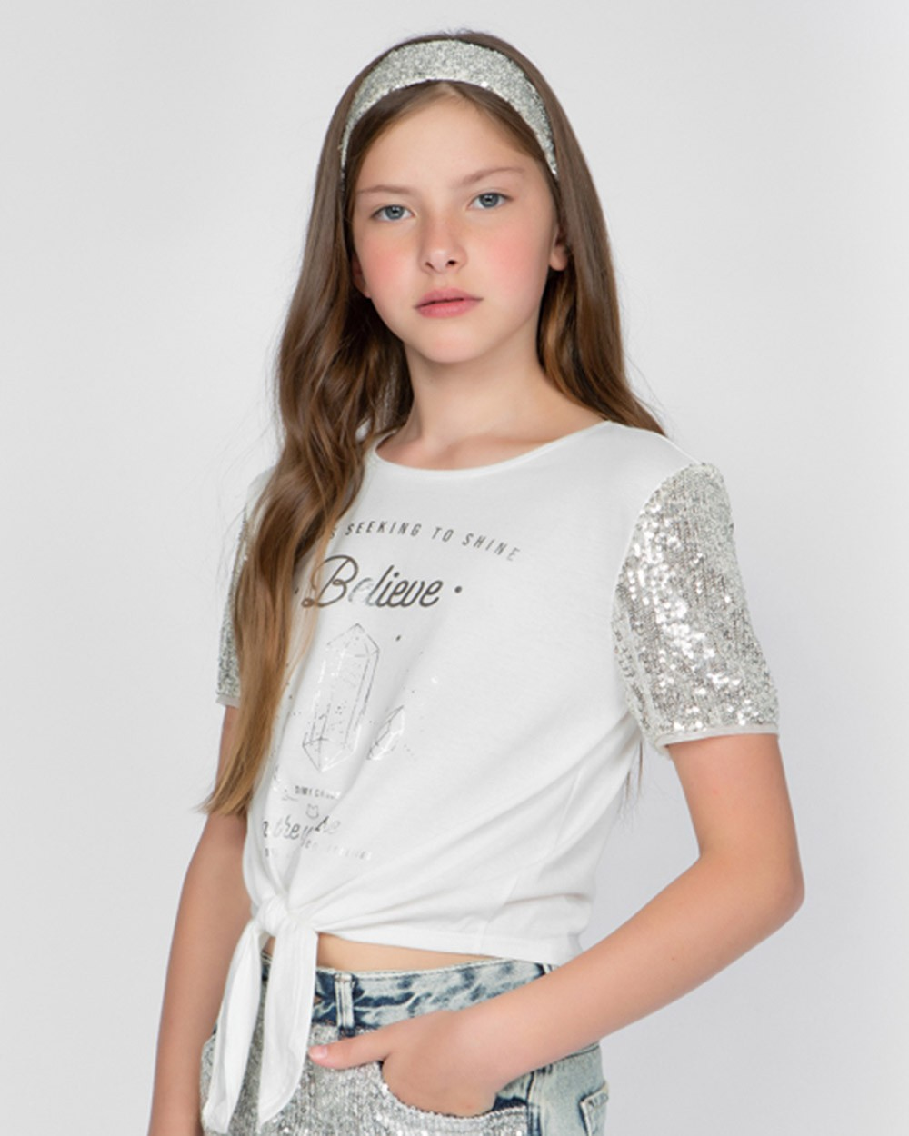 Camiseta Menina Dimy Candy Manga Paetê e Tiara 82232