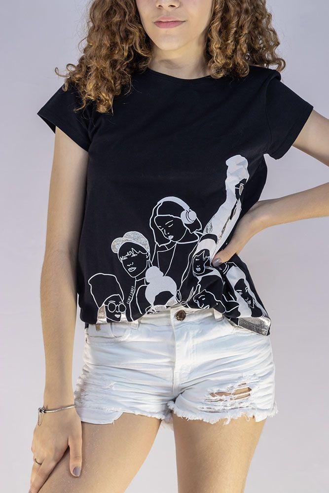 Camiseta Menina Dimy Candy Mulheres Preto 81598