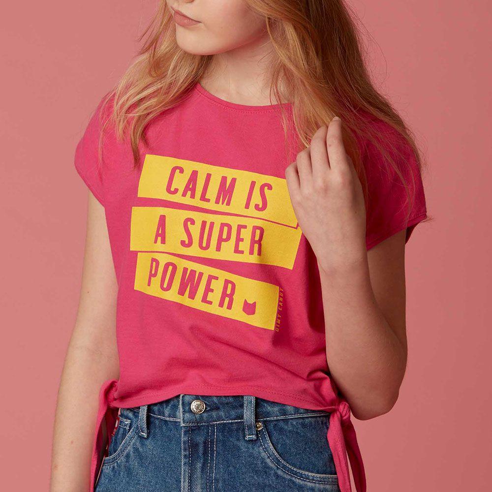 Camiseta Menina Dimy Candy Pink com Amarração Calm Is A 81764