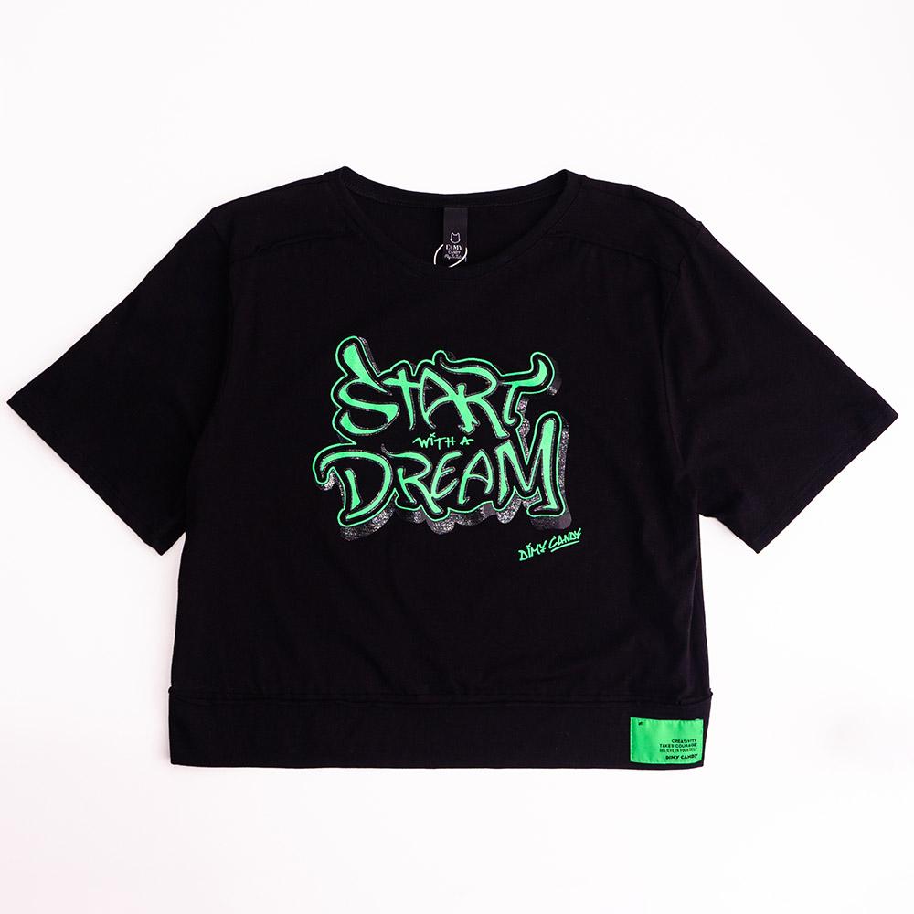 Camiseta Menina Dimy Candy Preta com Grafite Verde 82333