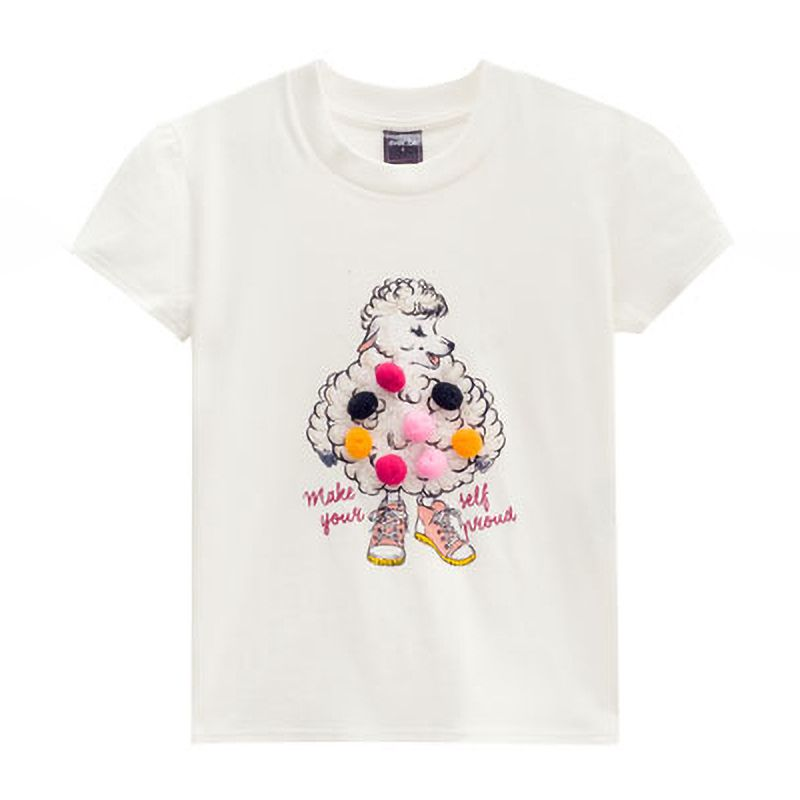 Camiseta Menina Ever Be Ovelha com Pom Pom 60133