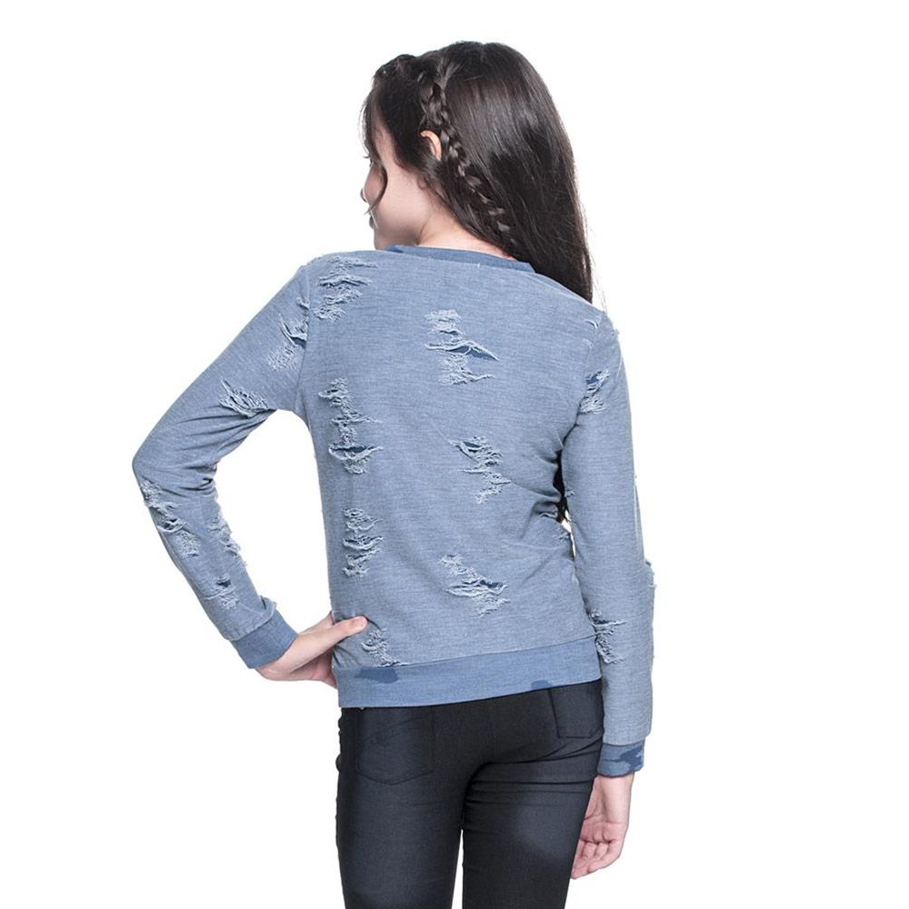 Camiseta Menina Amofany Blusa com Puídos 7001522